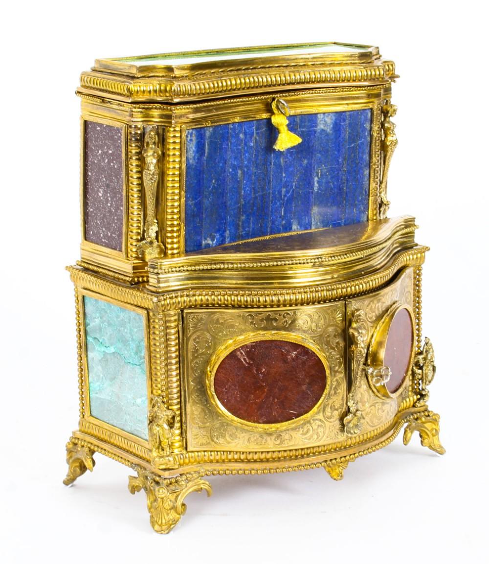 antique specimen precious hard stone ormolu mounted jewellery cabinet 19th c