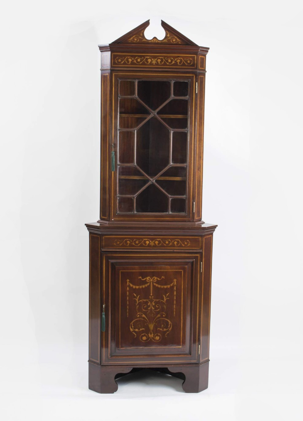 antique english edwardian marquetry corner cabinet c1900