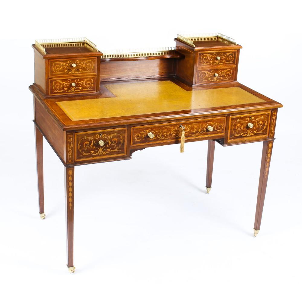 antique edwardian mahogany marquetry writing table desk circa 1900