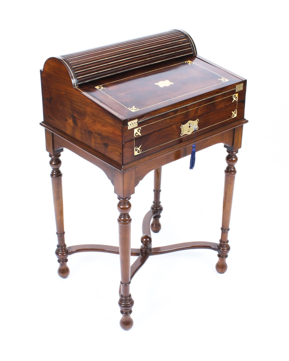 antique campaign anglo indian padouk tambour writing slope desk c1840