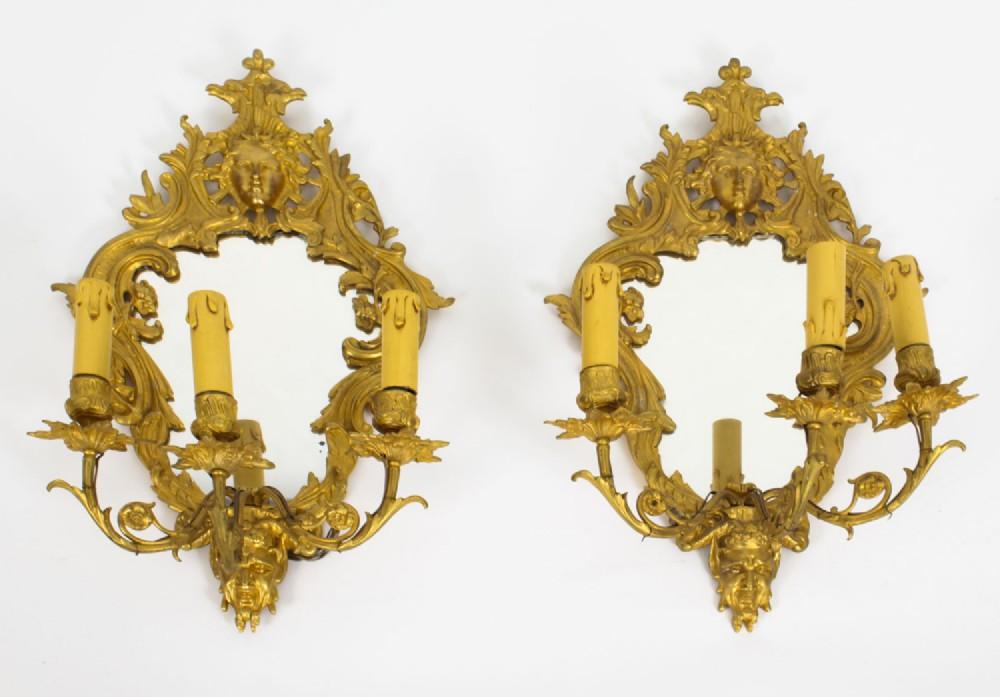 antique pair ormolu 3 light girandoles wall lights 19th century