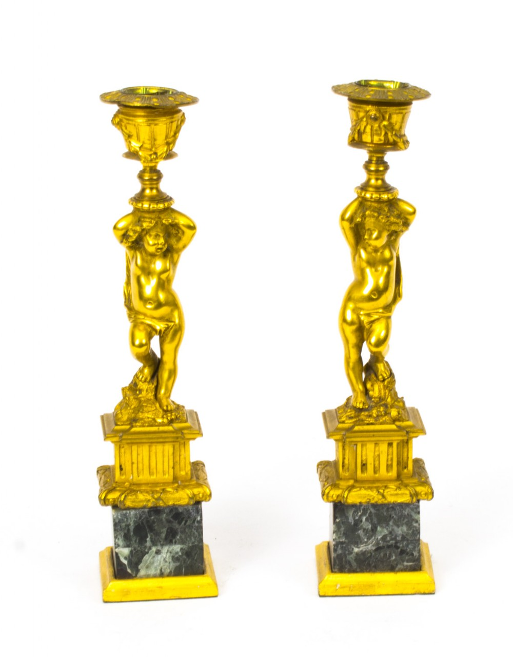 antique pair french ormolu cherub candlesticks c1870