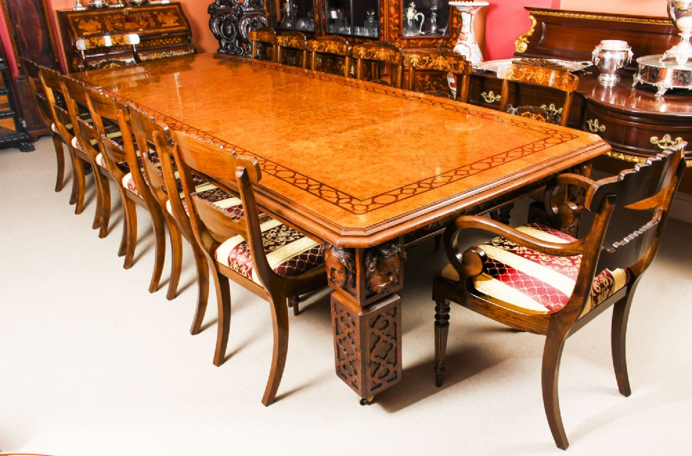 antique 12ft elizabethan revival pollard oak dining table 19th c and 14 matching chairs