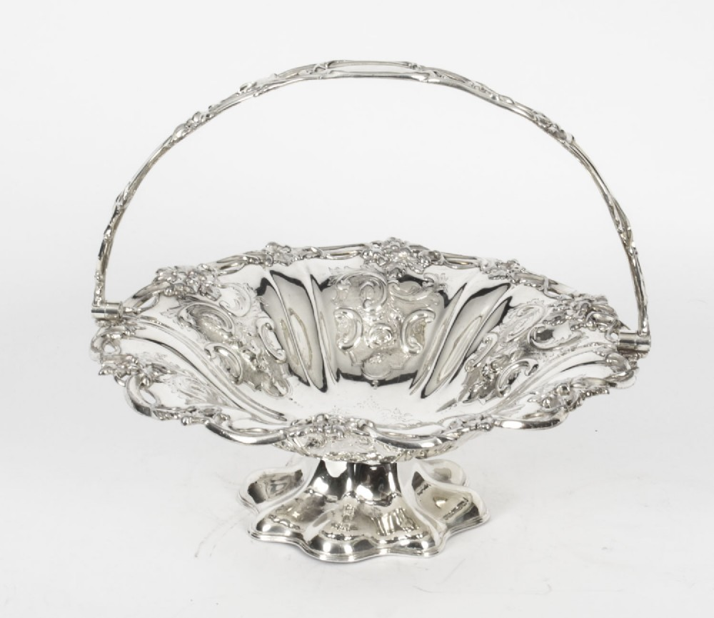 antique silver plated fruit basket robert hall c1880 19th century