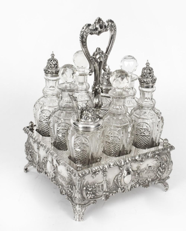 antique victorian silver plated 8 bottle cruet set walker hall circa 1845