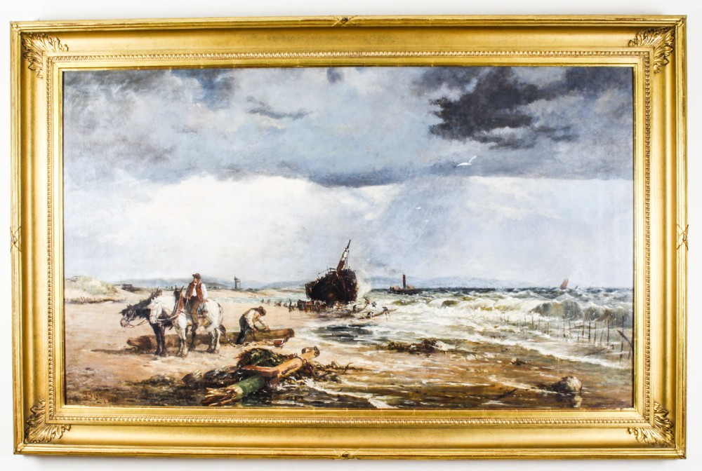 antique oil on canvas painting salvaging the wreck by samuel bird 19th century