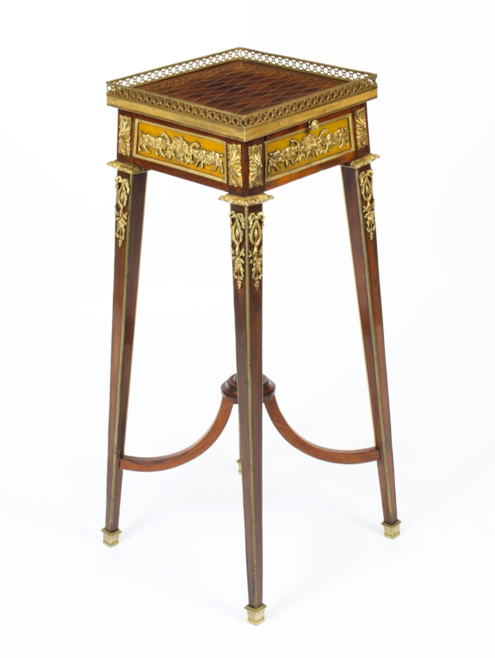 antique french parquetry ormolu mounted stand att franois linke 19th century