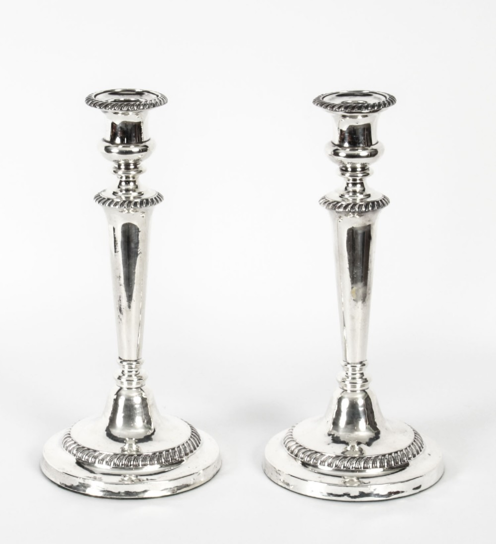antique pair old sheffield silver plated candlesticks early 19th c