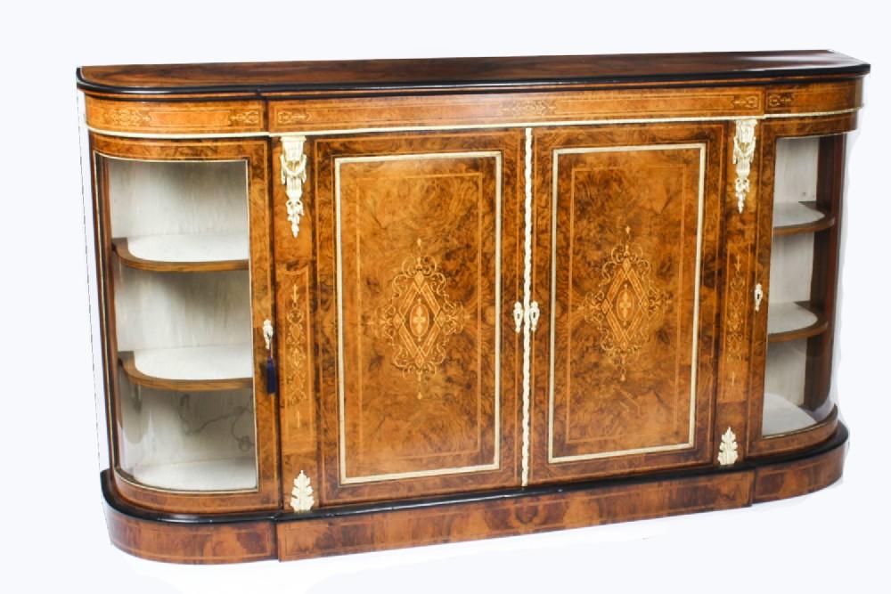 antique victorian walnut marquetry inlaid 4 door credenza c1880 19th c