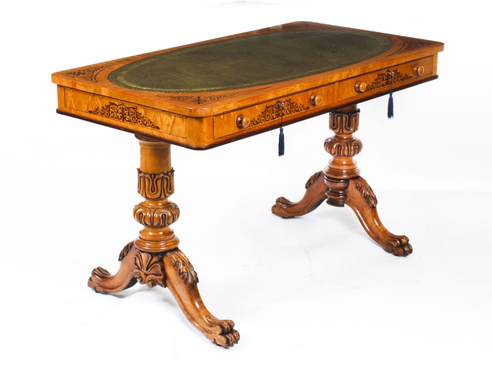 antique satinwood library writing table desk gillows manner early 19th c