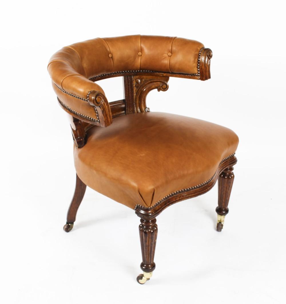 antique victorian oak leather desk chair tub chair c1880