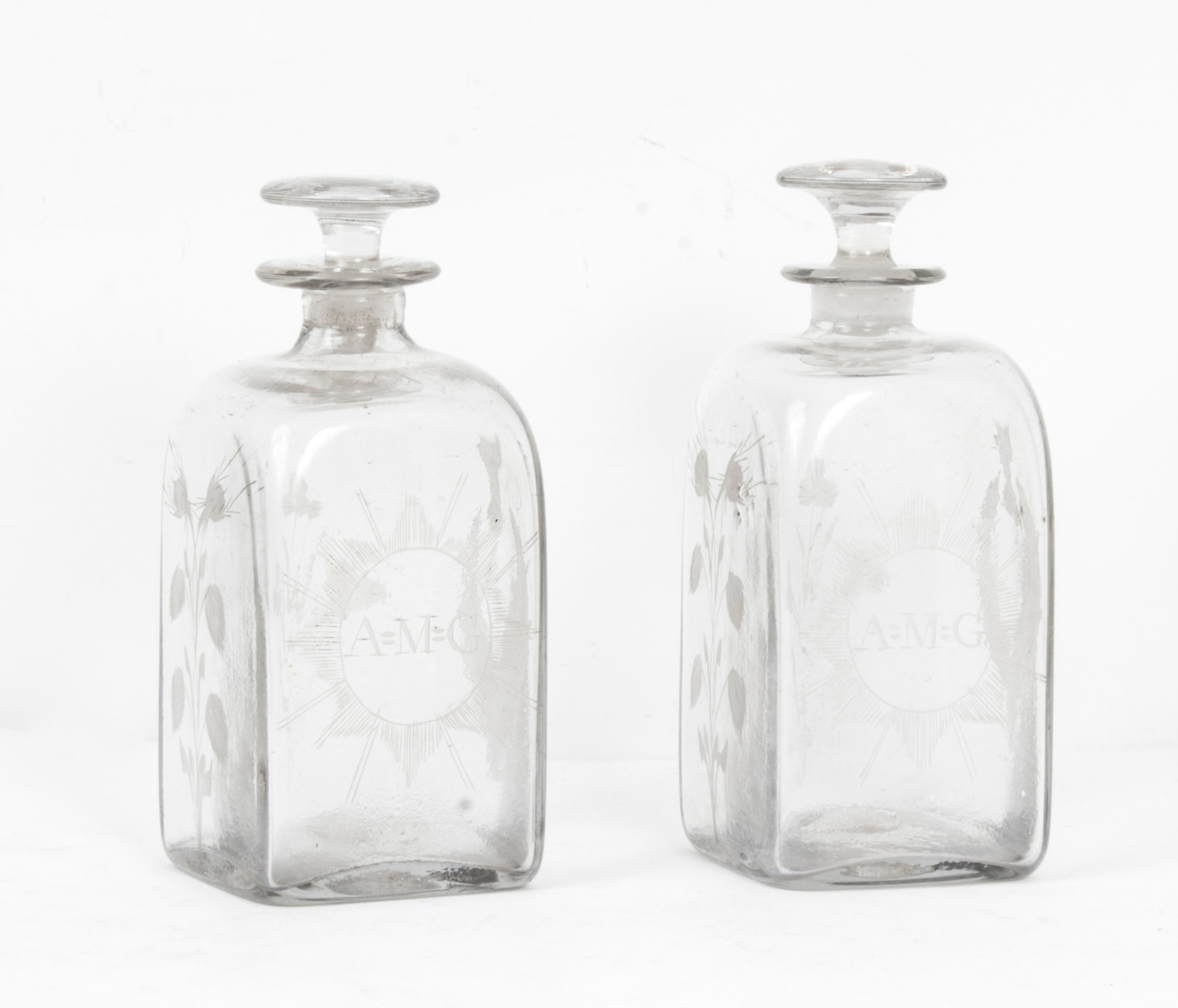 antique pair of etched glass decanters thistles c1900