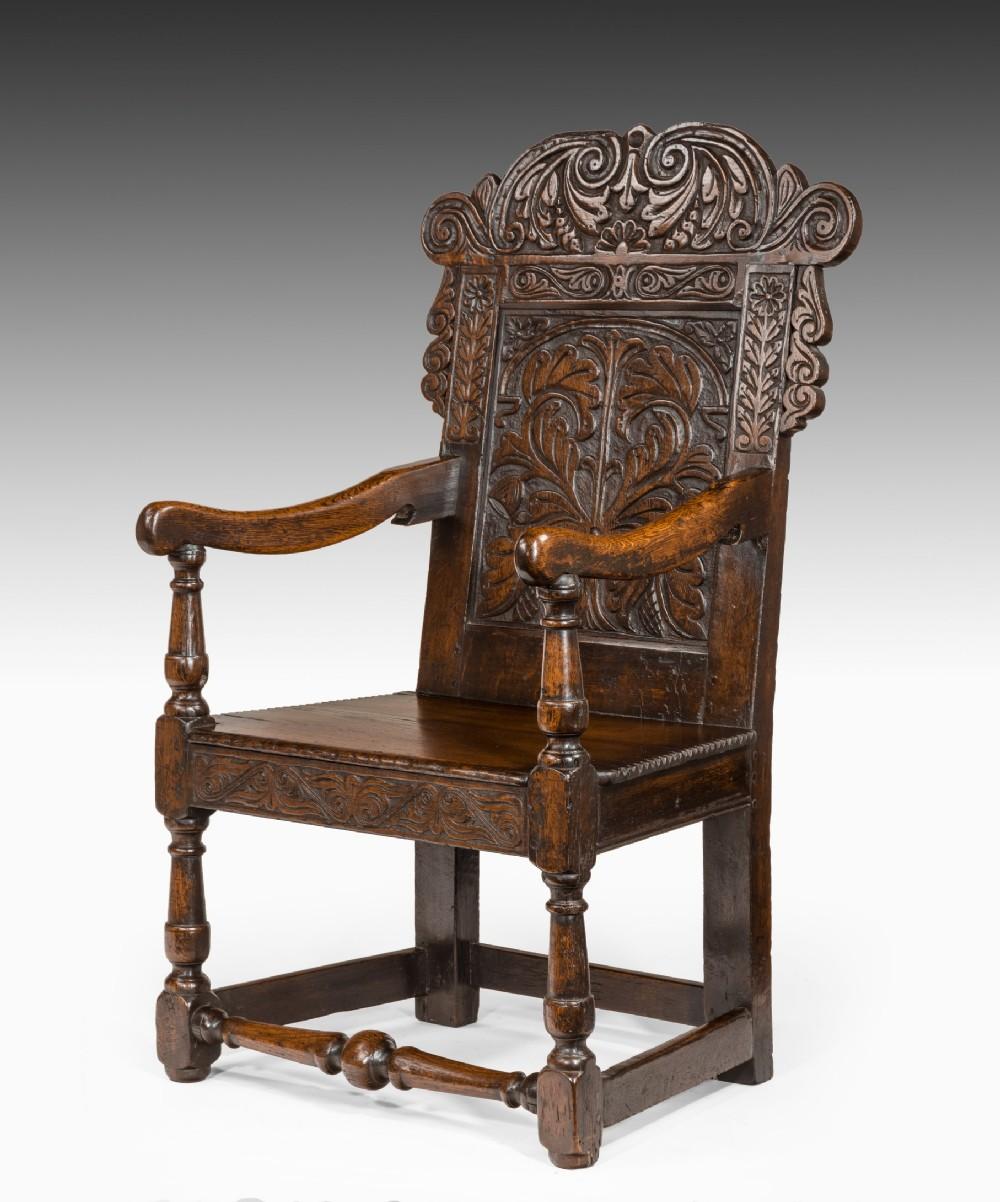seventeenth century carved oak wainscot armchair