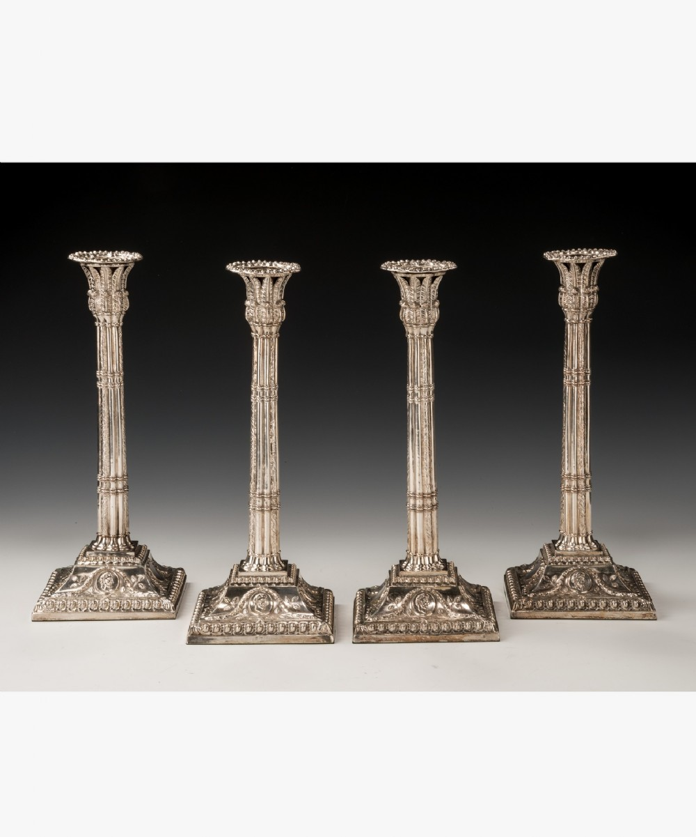 a rare set of 4 george iii period old sheffield plate silver candlesticks by fenton creswick and co