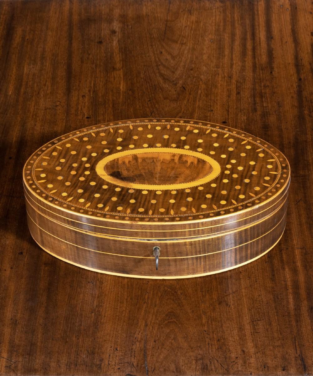 georgian sheraton period oval box in harewood