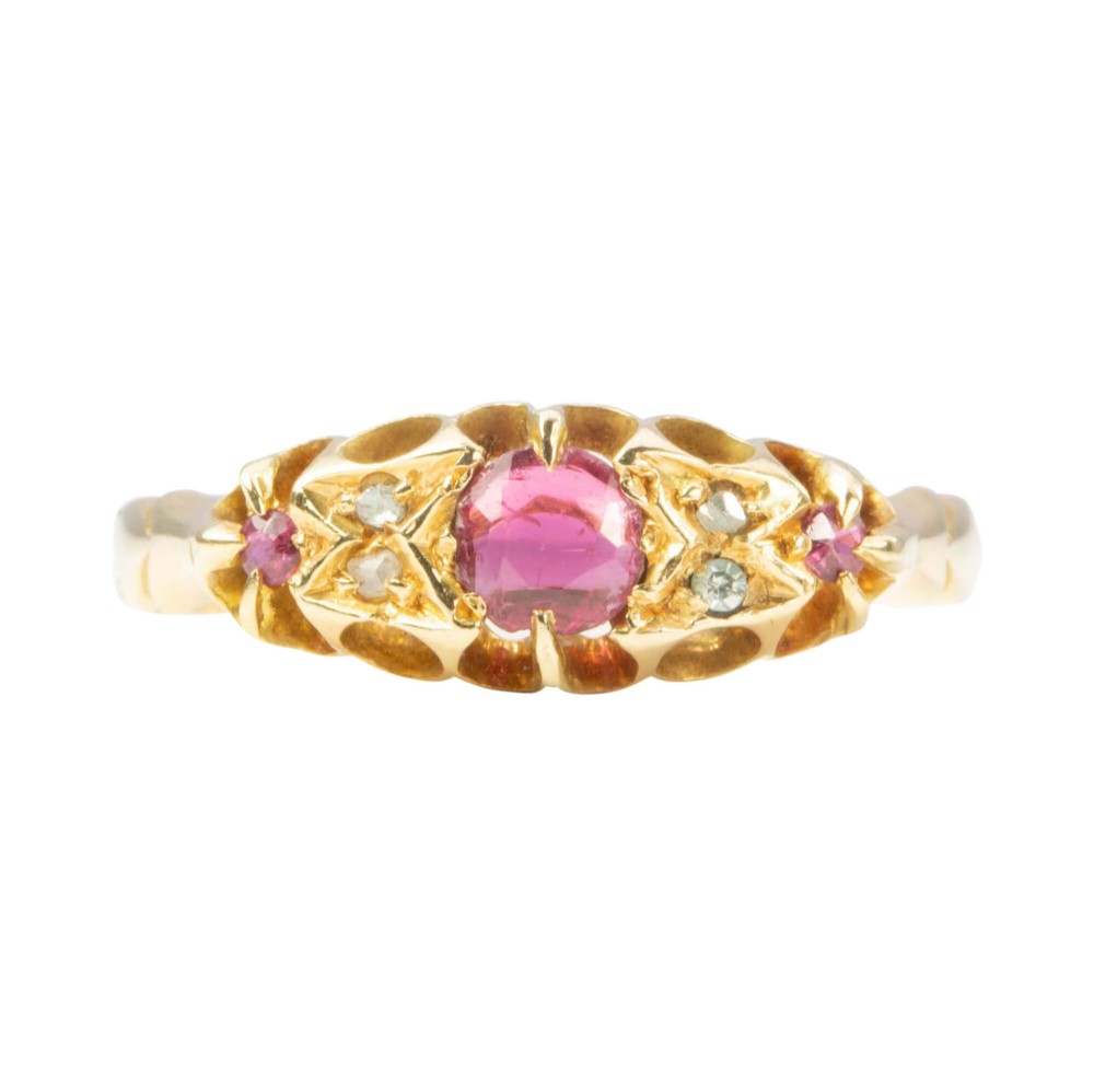 antique 18ct gold ruby and diamond 7 stone ring