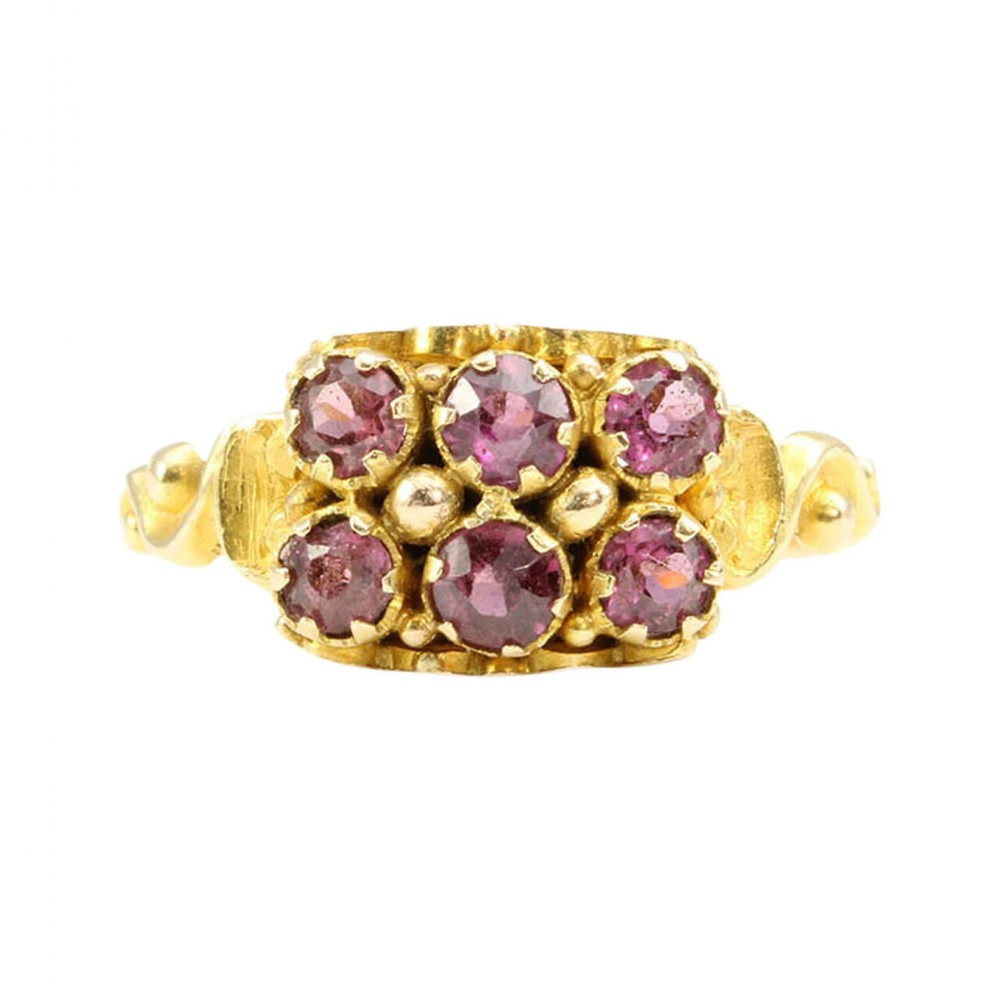 victorian 15ct gold garnet cluster ring