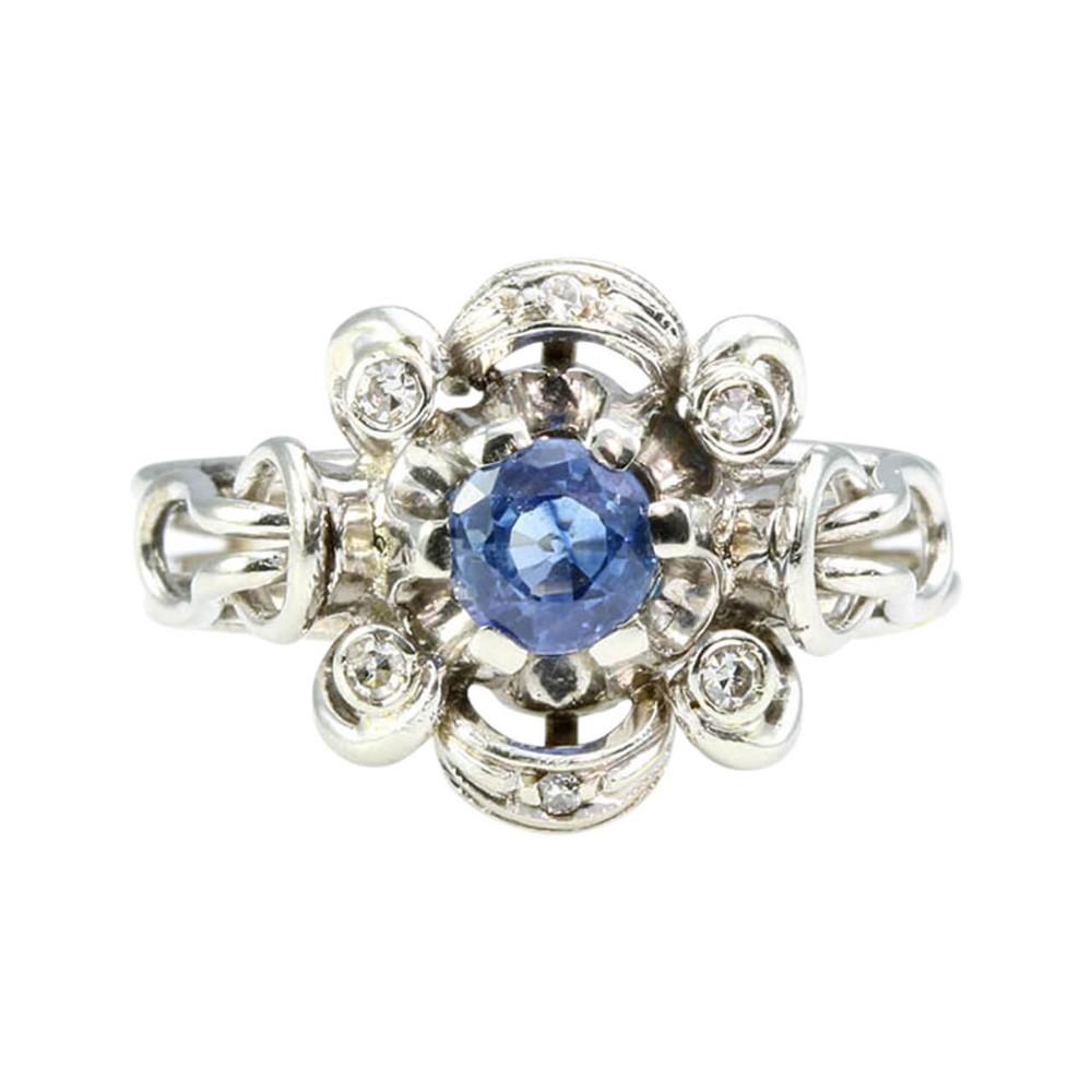 vintage italian 18ct gold sapphire diamond cluster ring