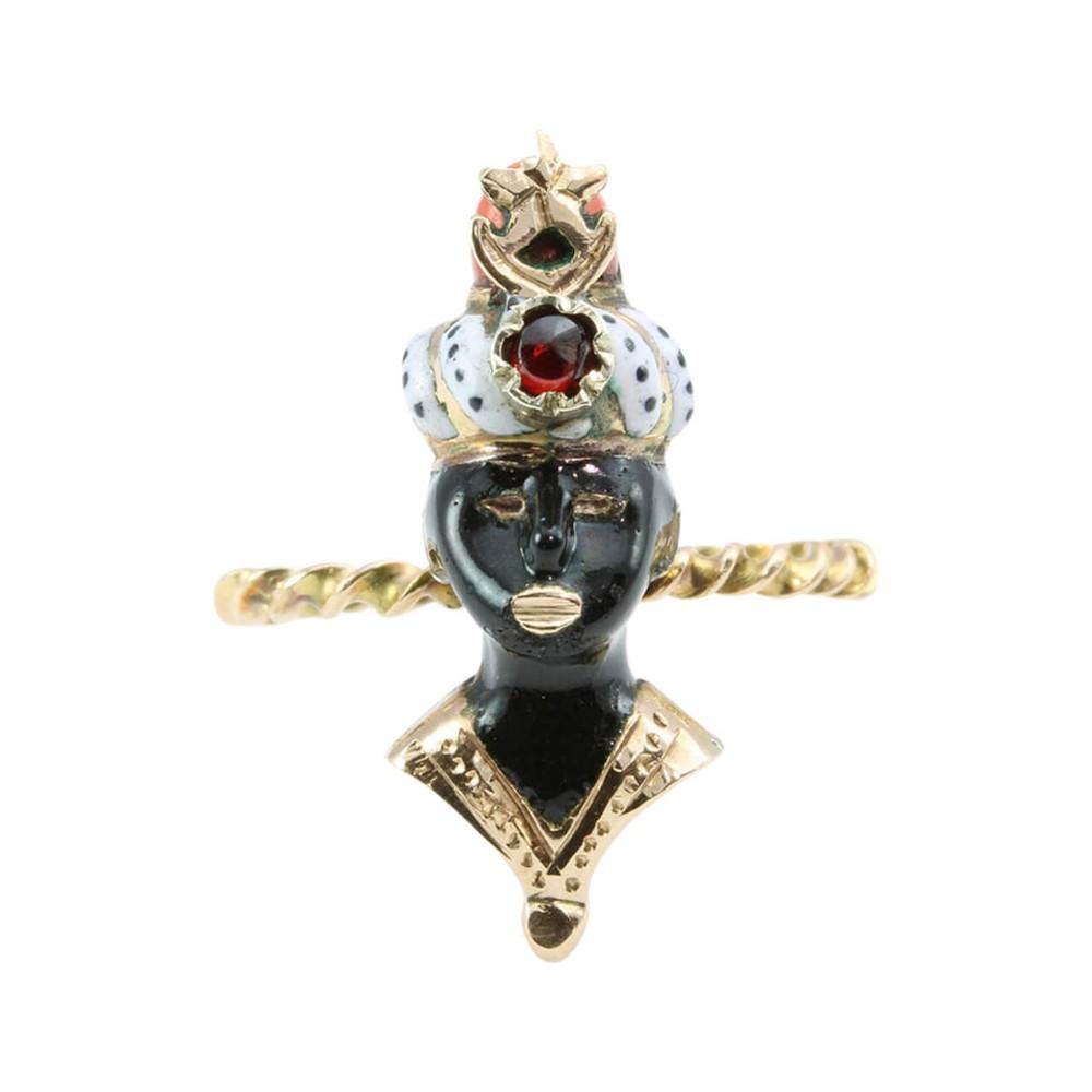 victorian 9ct gold garnet coral and enamel blackamoor ring