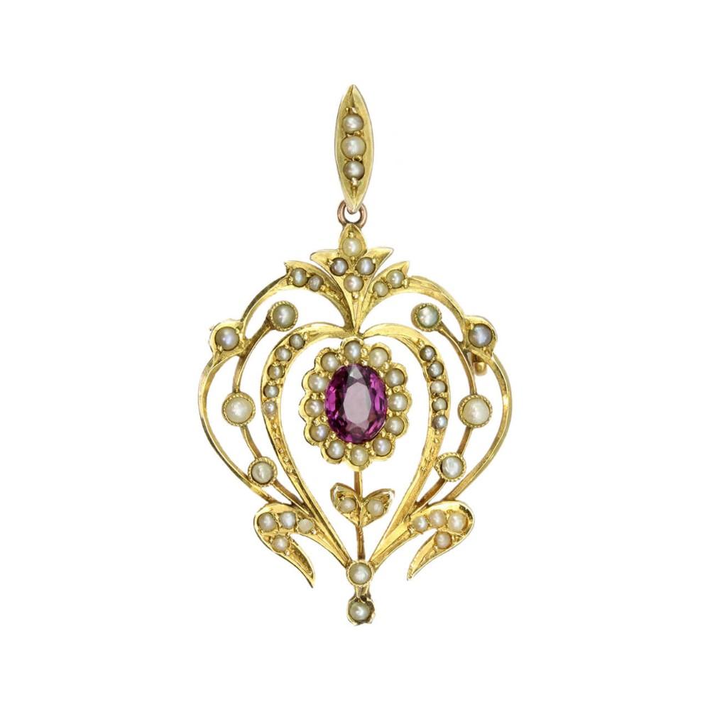 edwardian belle poque 9ct gold garnet pearl pendant