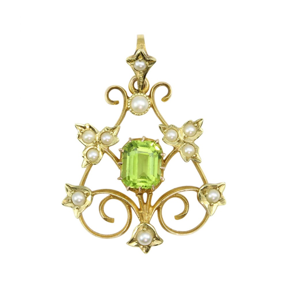 belle poque 15ct gold peridot pearl pendant