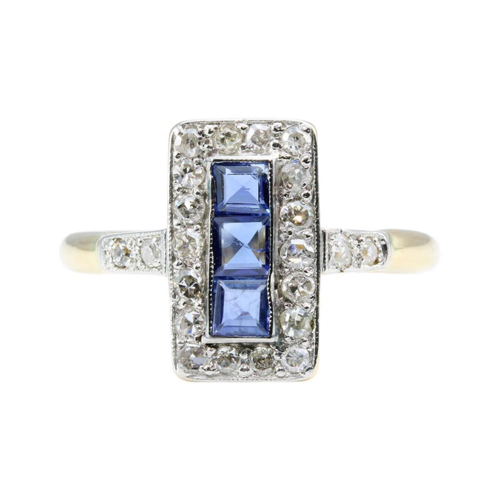 art deco 18ct gold platinum sapphire diamond ring