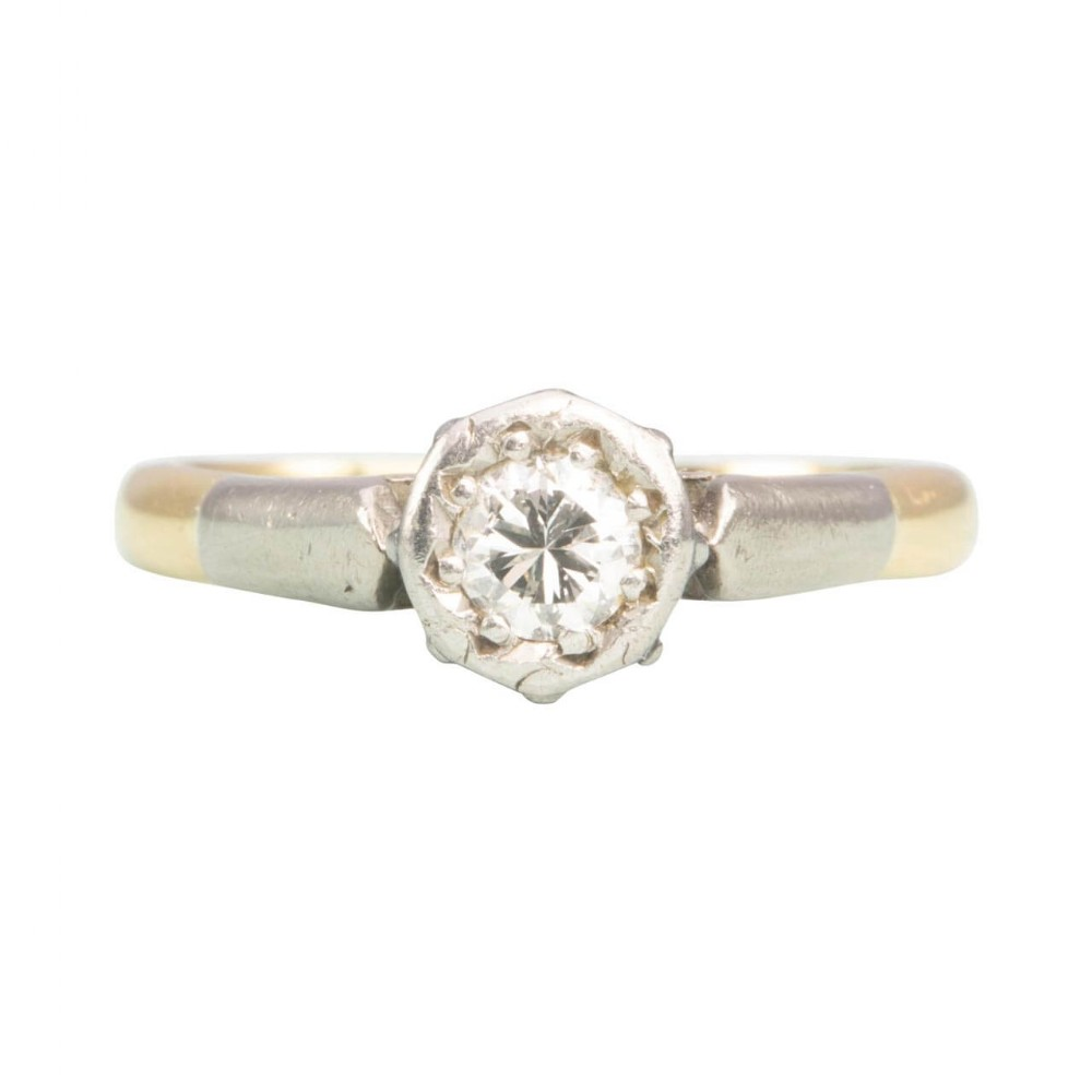 vintage 18ct gold 040 carat solitaire diamond engagement ring small size