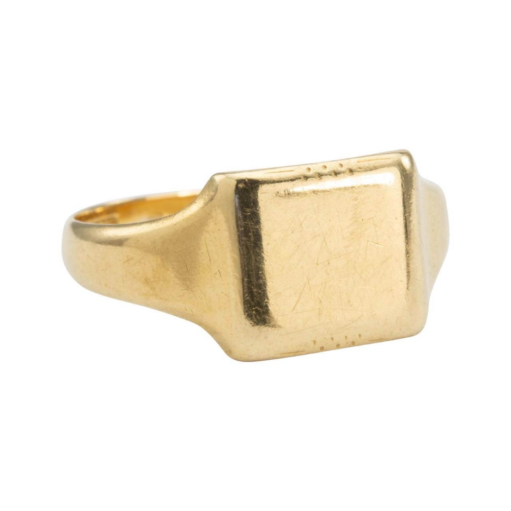 vintage 1930s 18ct gold plain square signet ring