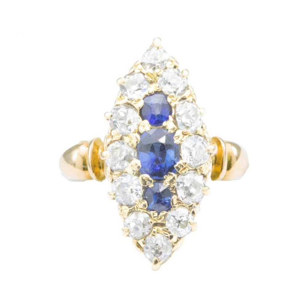 antique edwardian 18ct gold old cut sapphire diamond marquise ring