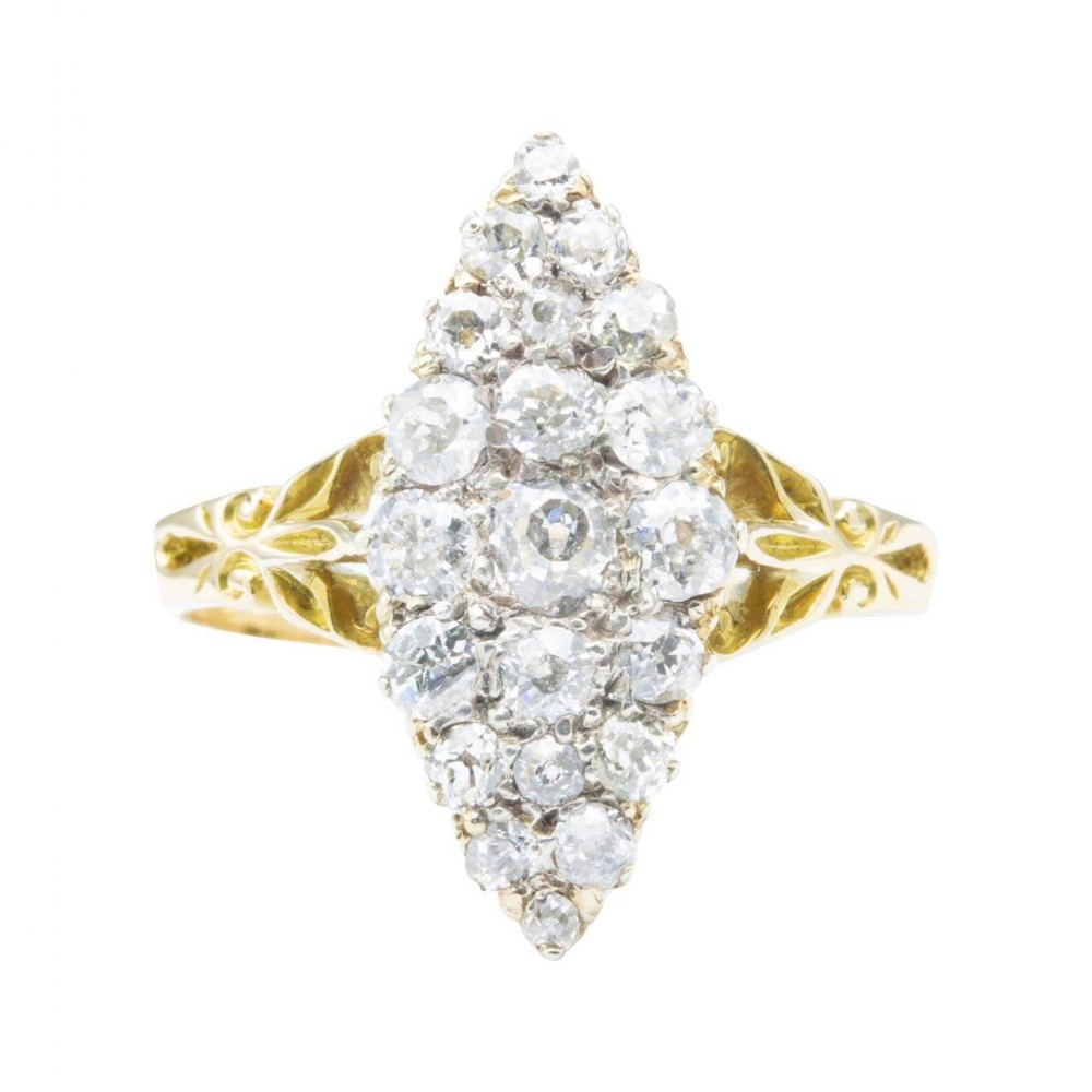 antique edwardian 18ct gold old cut diamond marquise ring