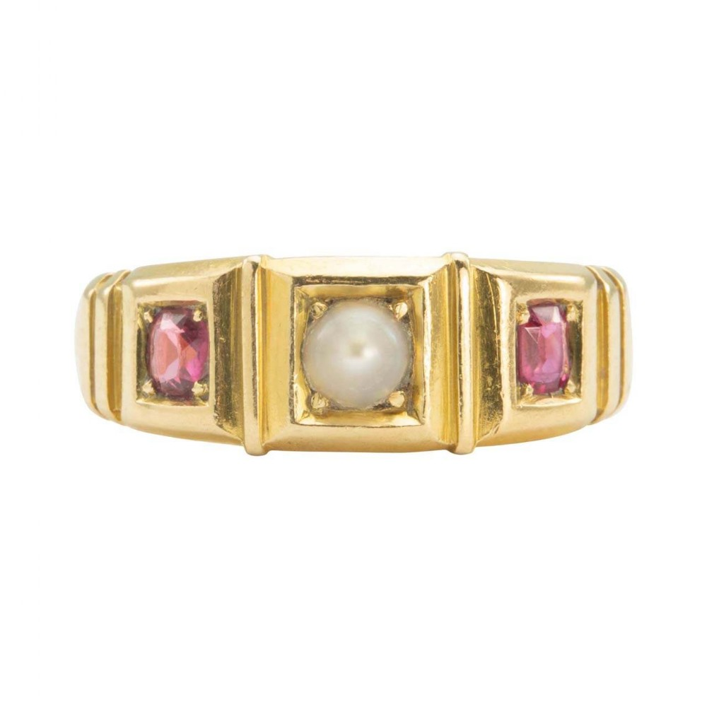antique victorian 18ct gold pearl and ruby gypsy ring hallmarked 1894
