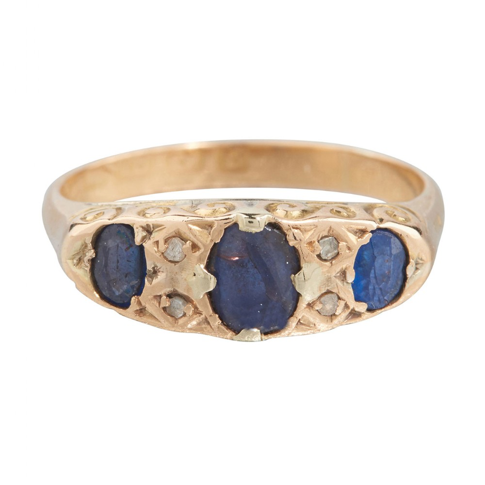 edwardian 18ct gold sapphire diamond half hoop ring