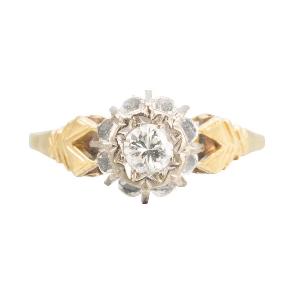 vintage 18ct gold 025 carat diamond high set solitaire engagement ring