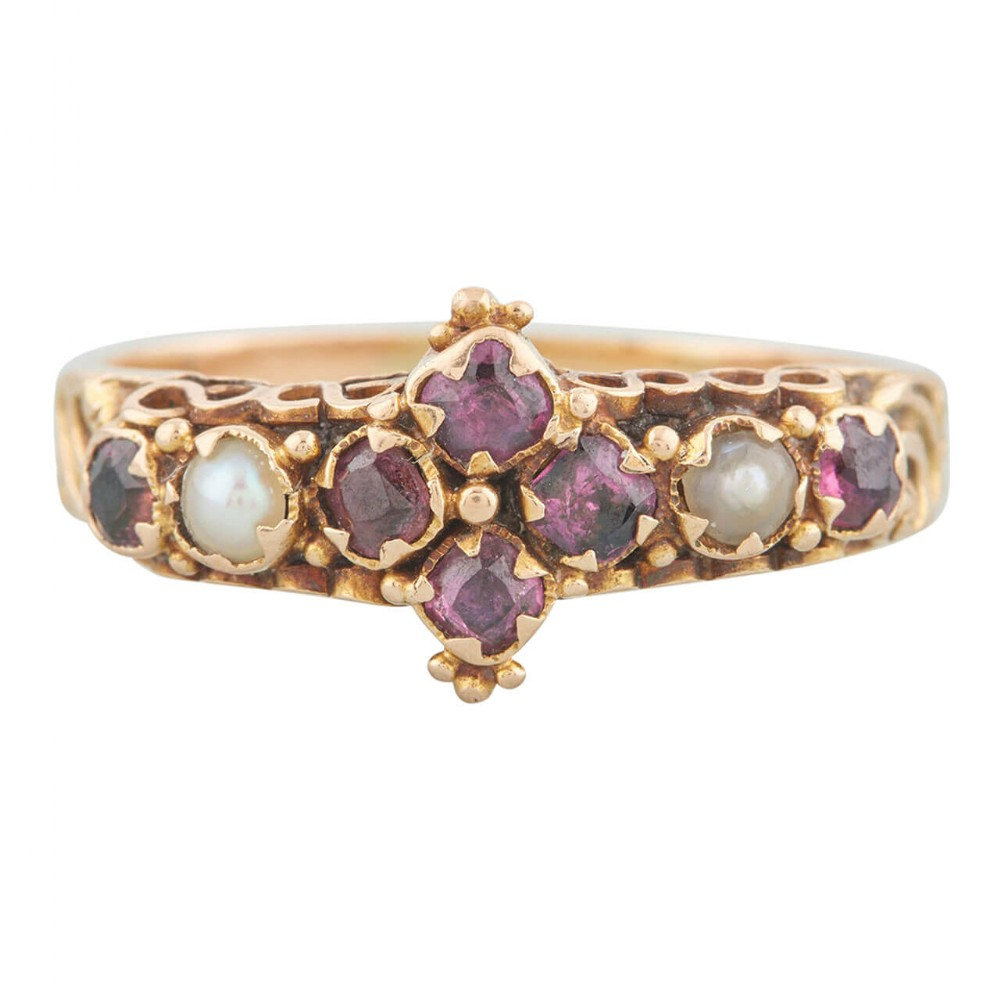 victorian 18ct gold amethyst and pearl dress ring