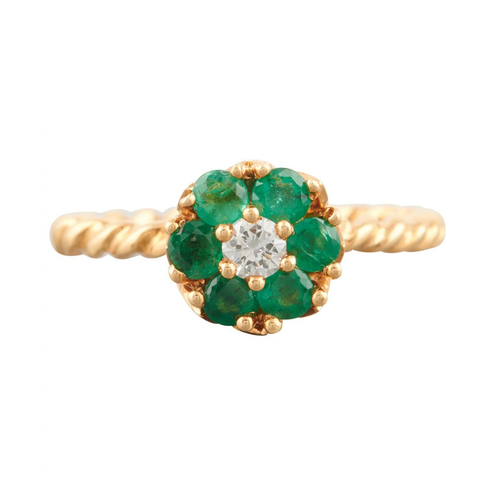 1950s 18ct gold emerald and diamond high set cluster ring