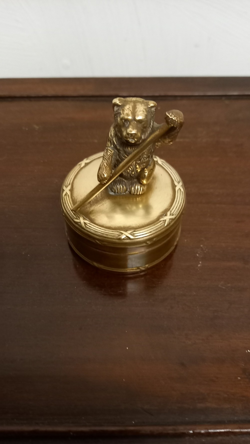 victorian brass bear trinket box