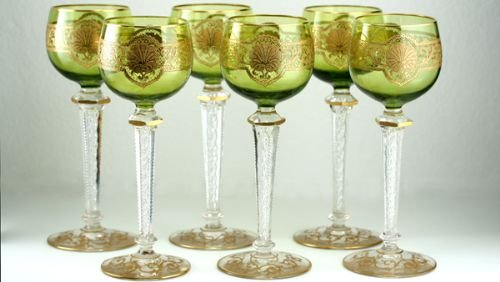 c1900 set of six acid etched green cased wine glasses goblets attributed to st louis