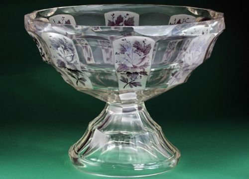 c1910 bohemian triple step crystal bowl with rose spray panels