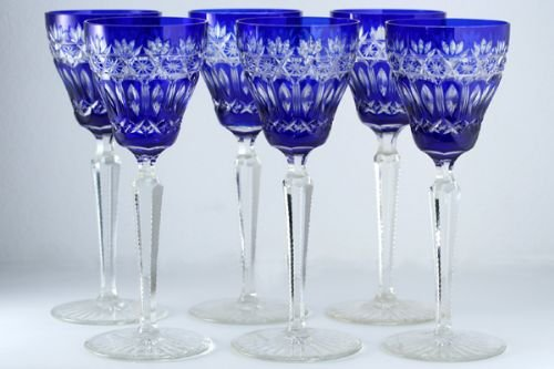 C1950s Set Of Six Cobalt Overlay Bohemian Crystal Cut To Clear Hock Wine Glasses 171027