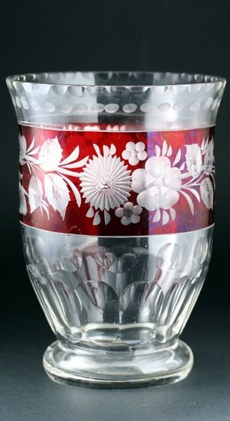 C1900 Bohemian Crystal Vase With Engraved Flash Ruby Band 97266