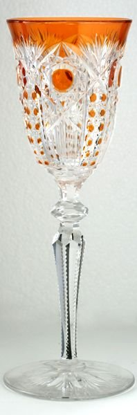 scarce c1920 val st saint lambert richepin saarloius orange cut to clear wine hock glass