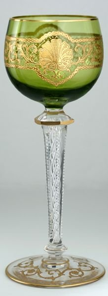 c1900 set of six acid etched green cased wine glasses goblets attributed to st louis - photo angle #2