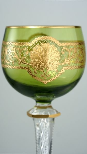 c1900 set of six acid etched green cased wine glasses goblets attributed to st louis - photo angle #3