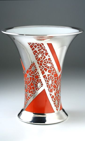 1938 Rosenthal Orange Porcelain Deco Vase With Silver Overlay By