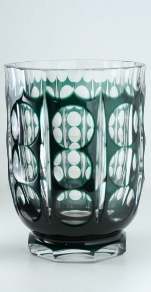 c1930s40s val st lambert emerald to clear deco crystal florenville vase