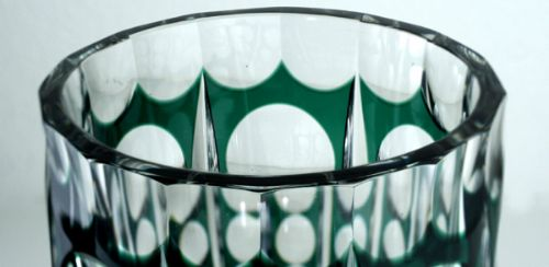 c1930s40s val st lambert emerald to clear deco crystal florenville vase - photo angle #3