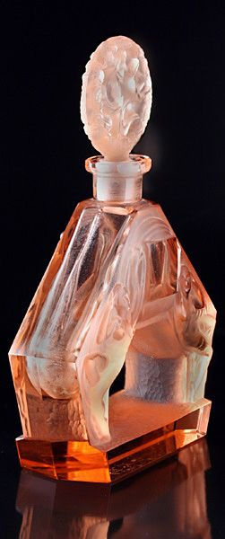 rare c1930s heinrich hoffmann art deco pink glass figural scent perfume bottle - photo angle #5