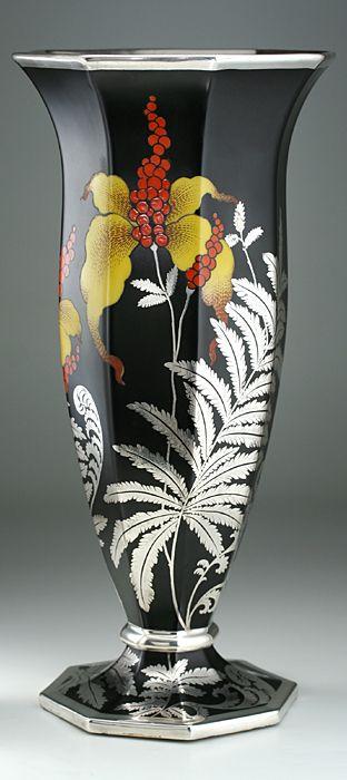 1935 Rosenthal Porcelain Vase With Floral Fern Silver Overlay