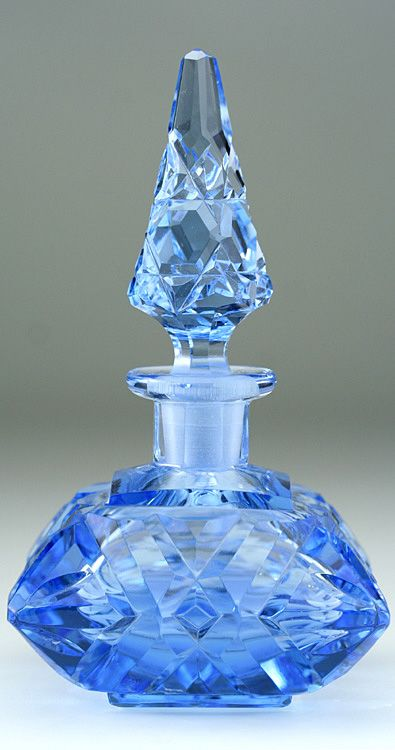 c1930s czechoslovakian blue cut crystal scent perfume bottle with spire stopper