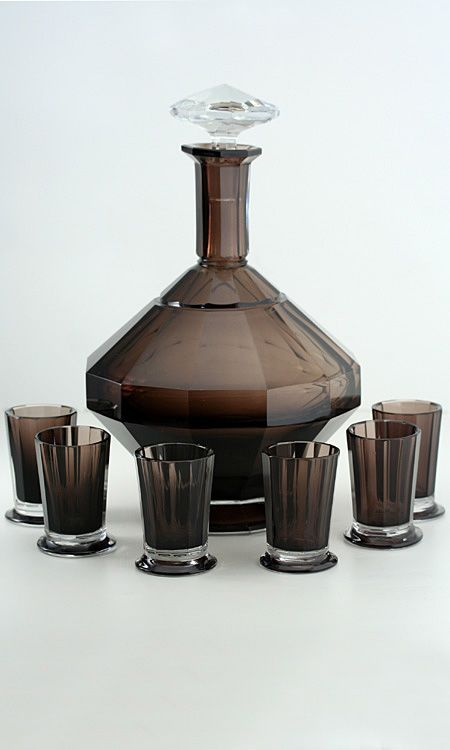 c1930s val st lambert deco smoky plum and clear crystal decanter and six glasses set